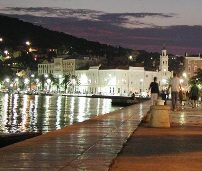 Riva at night and church st.Frane