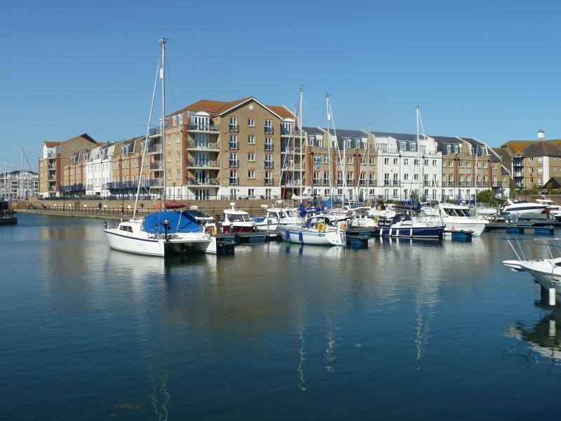 View of our apartment across the marina