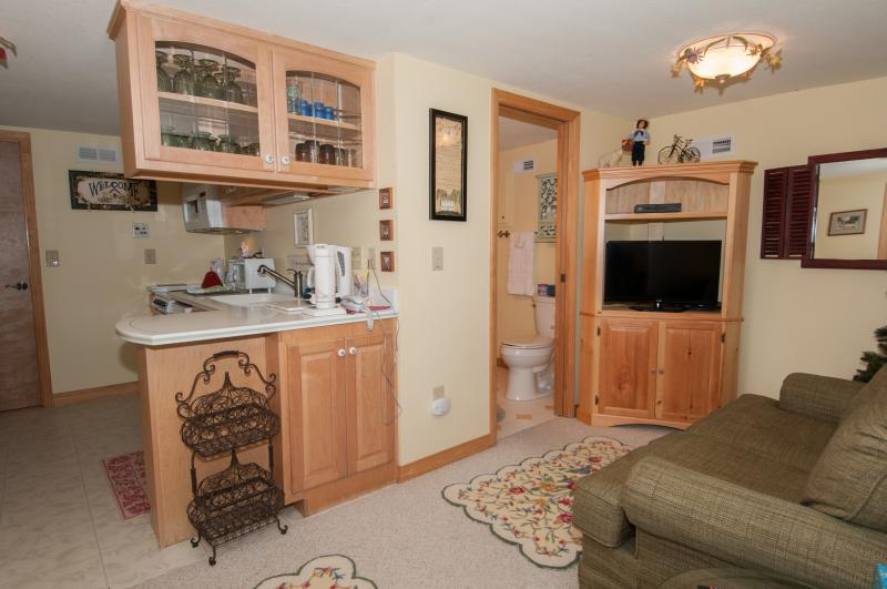 Private Lower Level Living Area with view to Kitchen and Dining