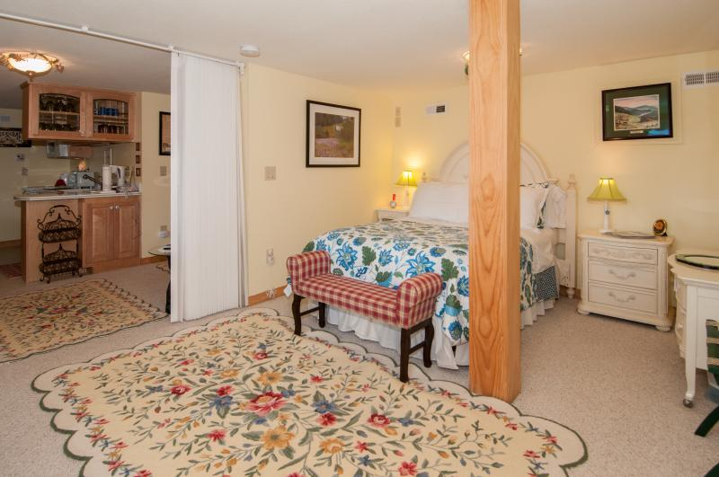 Private Lower Level Bedroom with view to living area, notice sliding door