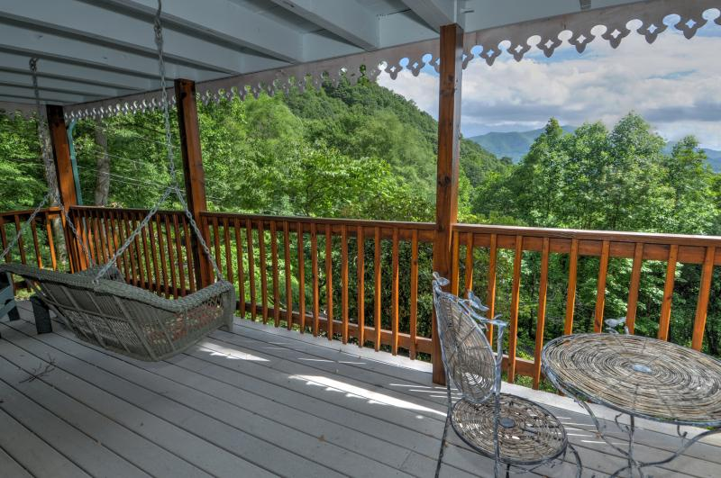 Lower Level Covered Porch with Mountain Views