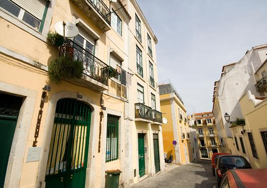 in a typical street of beautiful and classified bairro alto quarter
