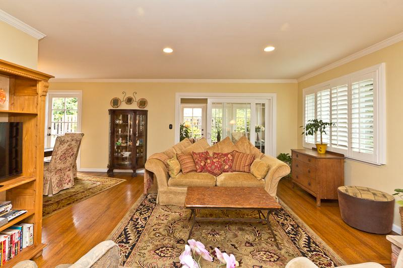 Living room with hardwood floors, gas wood fireplace, open and airy, sunny and inviting