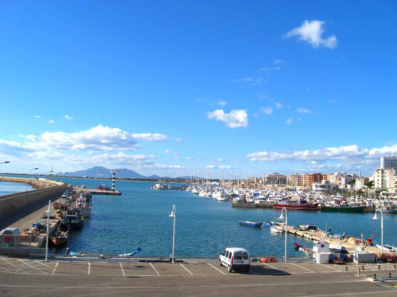 view across the port with fishing boats and marina in L'Ampolla