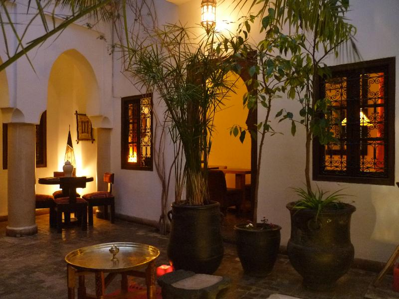 Riad Dar Zaman courtyard at night