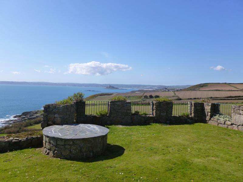 Looking out to sea from the castle grounds in front of the apartment.