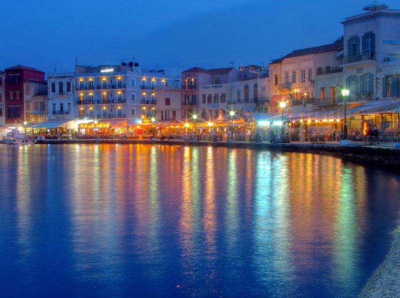 Chania old port at night