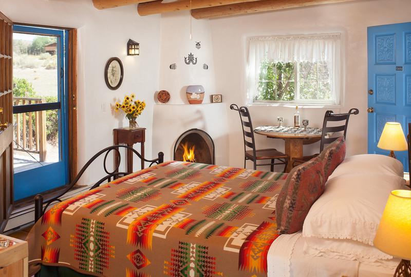 The Casita offers a Kiva fireplace.
