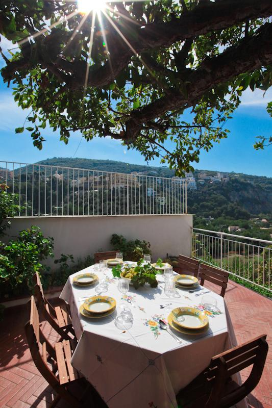 main terrace, overlooking the little town of Sejanus, the bay and the island of Ischia