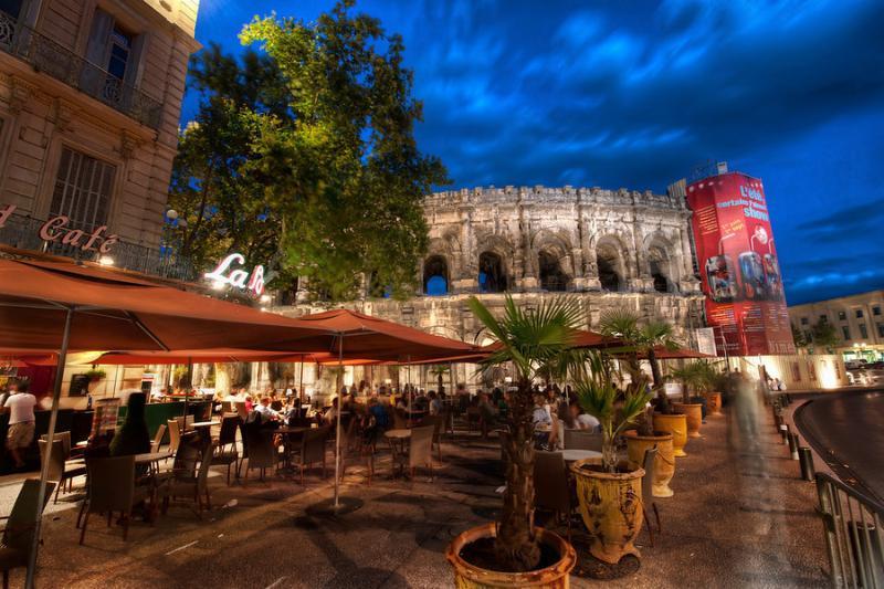 Cafe and Roman Arena in Nimes