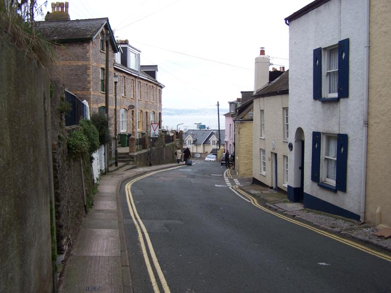 view down road towards harbour.
