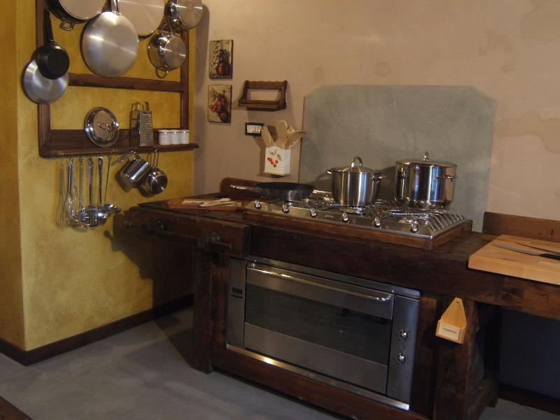 carpenter's bench transformed into kitchen