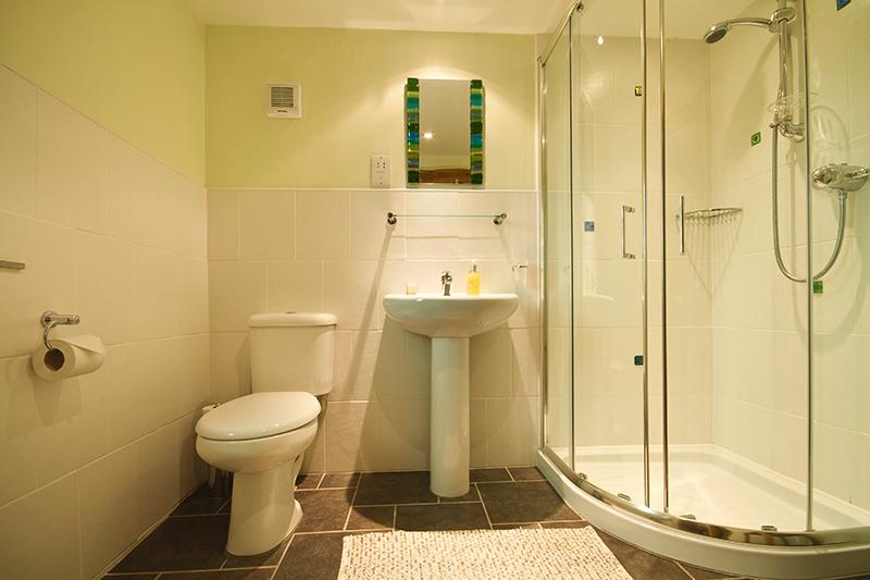 Ensuite badkamer met douche en Jo Downs mini tegels en glazen venster versmolten.