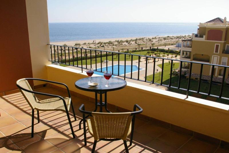 The fantastic panoramic view of the sea, landscaped gardens and pools from your holiday apartment!