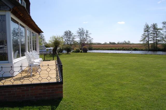 Decking & river side garden