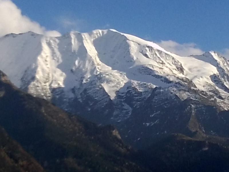 vue sur la chaine du Mont-Blanc, du balcon