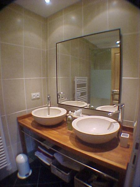 Bathroom 1 - 2 stone sinks and double shower