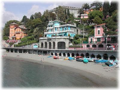 Beach of Levanto with traditional buidings