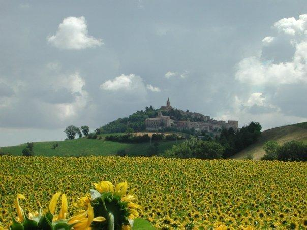 The beautiful hilltop village of Montelparo from a distance