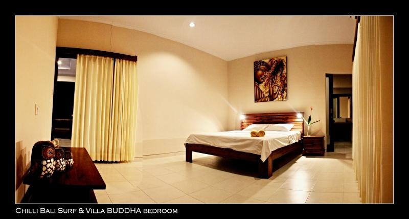 Buddha bedroom - king size bed and teak wood furniture