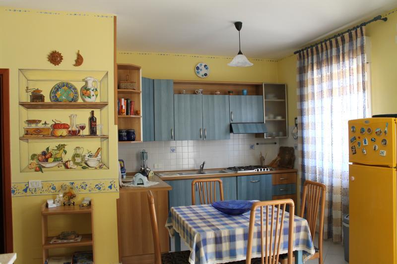 Kitchen-living room with fridge, stove, sink, satellite Tv.