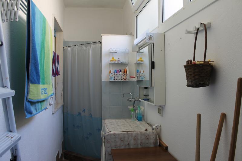 Lavanderia con doccia e lavatrice.