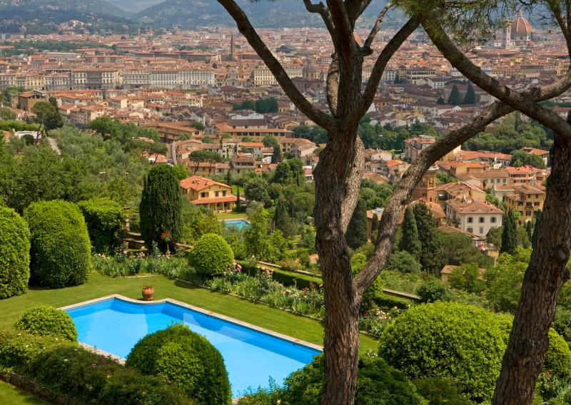 View of Florence and pool from the property
