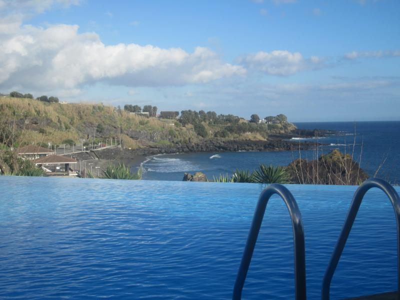 View to the beach from the pool