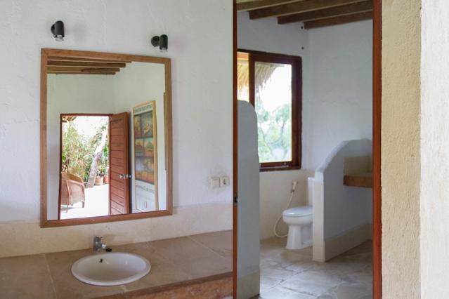 Bathroom adjacent to the porch