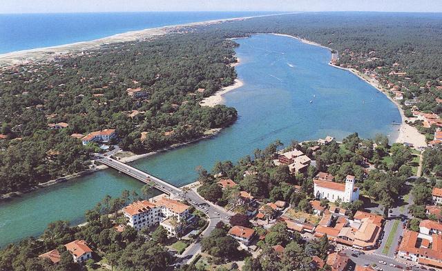 Hossegor town,lake and beach