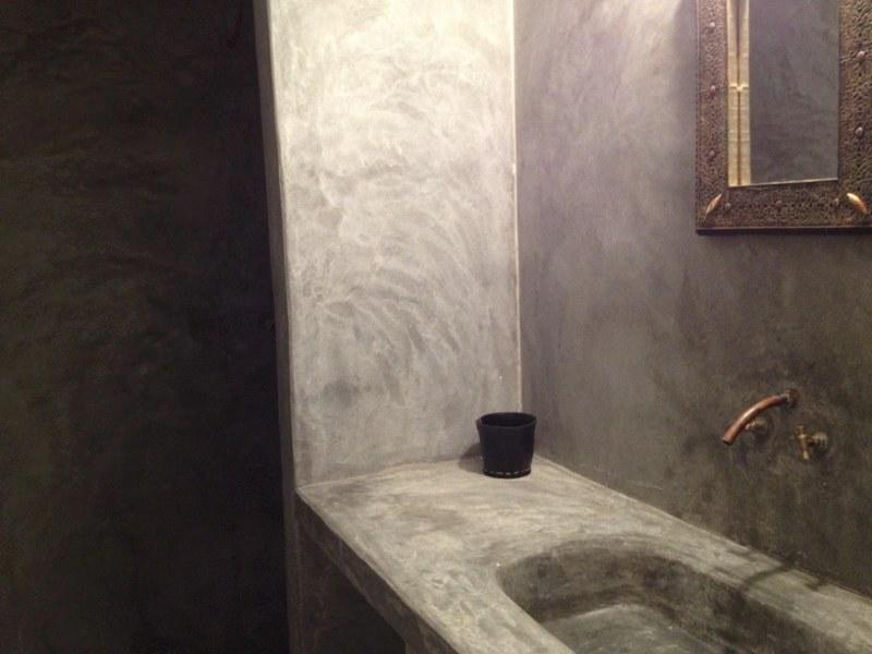 bathroom (sink and large shower smooth cement)