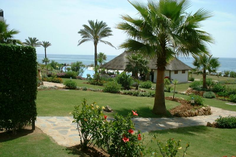 View from private garden to pool