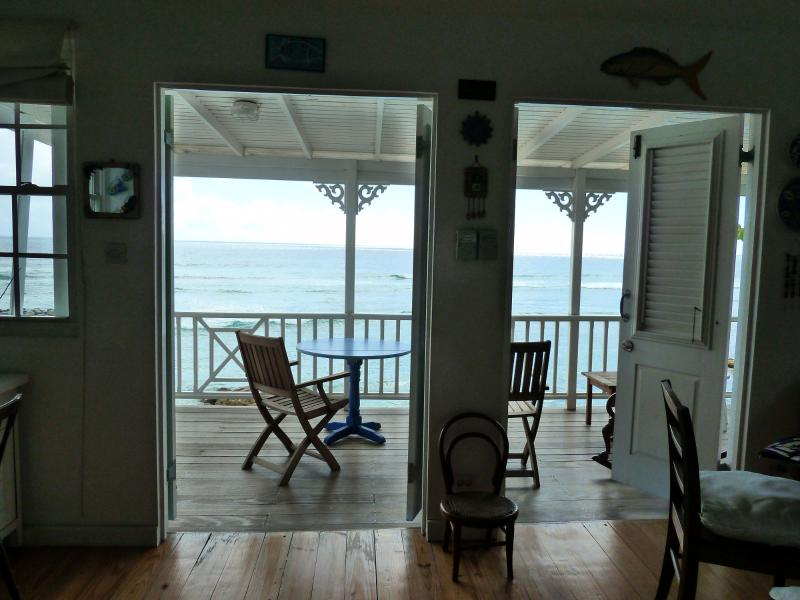 Looking out to the patio.