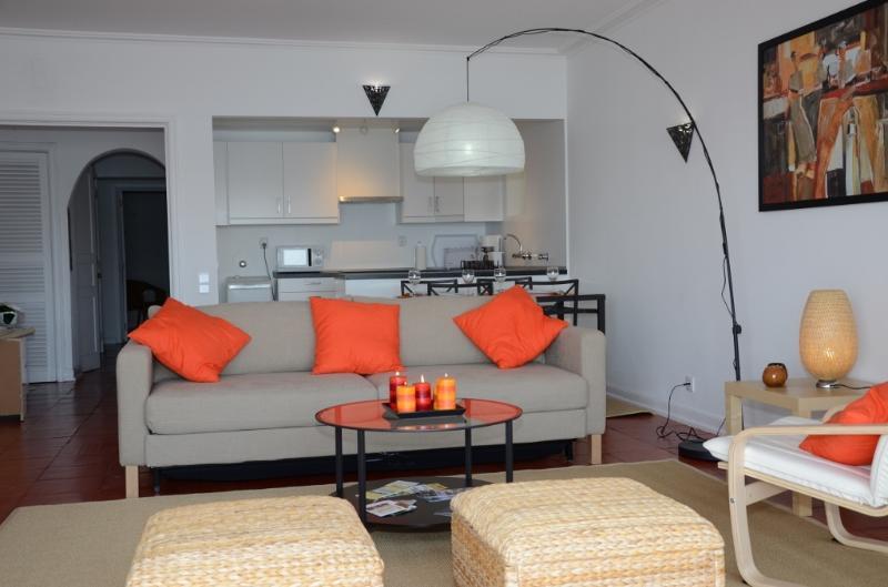 Salle de séjour avec canapé-lit (2 couchages), relié à la salle à manger et la cuisine