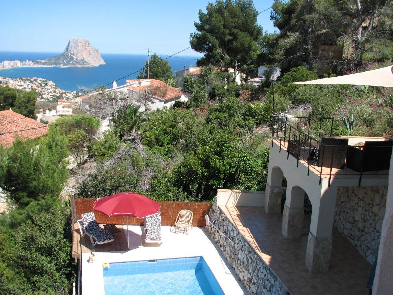 Calpe and Pinion viewed from the property and exciting external spiral staircase