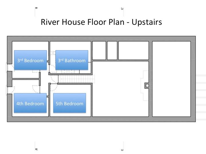 Upstairs floor plan - 3 bedrooms, bathroom