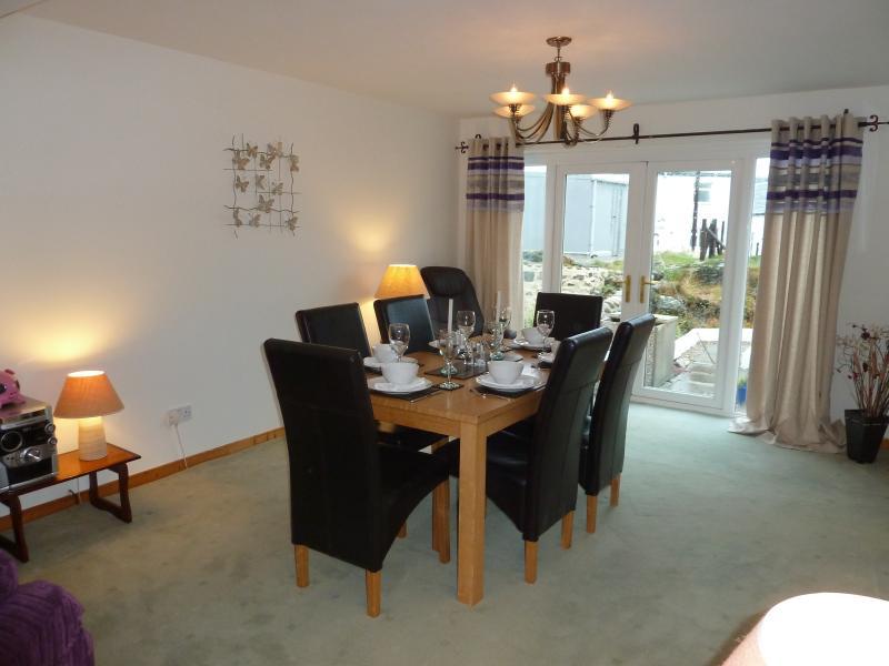 Tigh Na Creag, Port Wemyss, Islay, Dinning area looking onto the garden