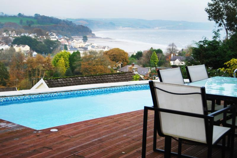 The heated swimming pool with breath taking sea views