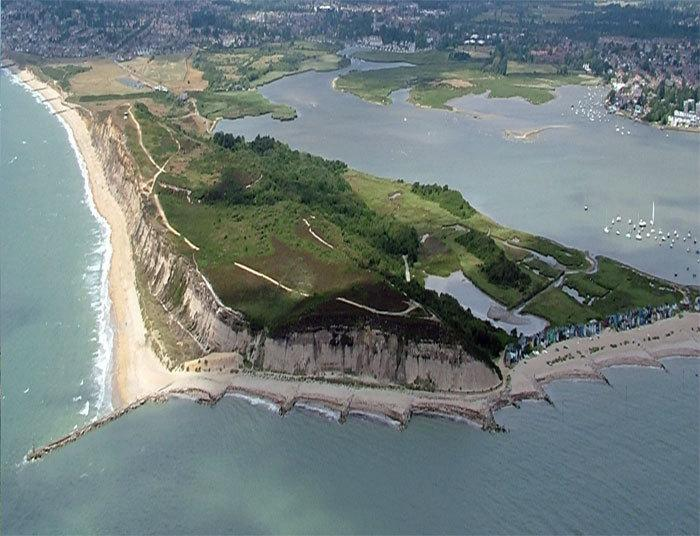 Hengistbury Head nature reserve and Christchurch harbour to the East