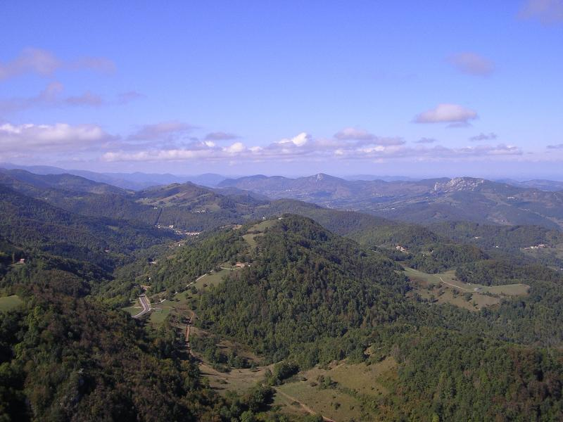 view from Montsegur (a famous Cathar Castle) which can be seen from the grounds of the Domaine