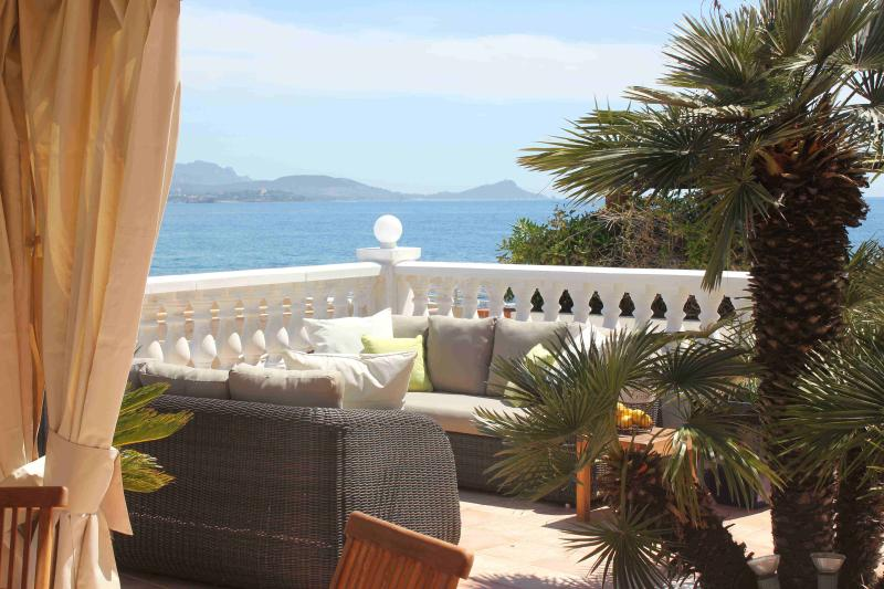 Breathtaking view from the terrace over the sea, St Raphael and the Esterel massif