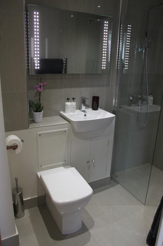 En suite shower room for master bedroom with underfloor heating