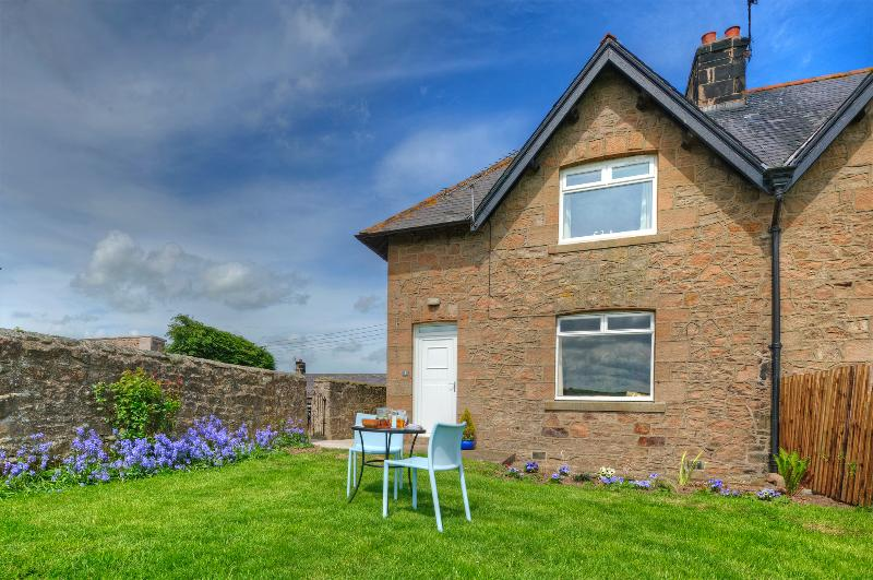 Linnet Cottage with views out to organic farm land where you can see hares, sika deer and swallows.