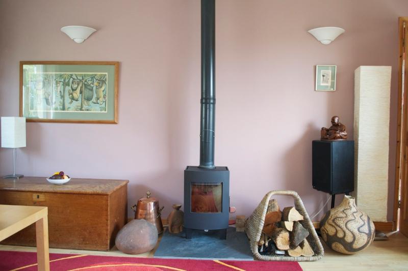 The lounge, wood burner