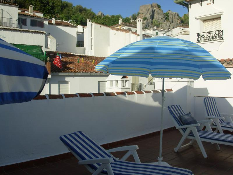 the roof terrace with the 'El Castillo de Aguila' Castle in the background