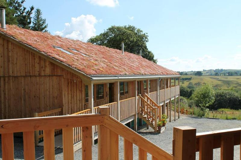 The 'green' sedum roof on Denmark Farm Eco Lodge changes colour with the season