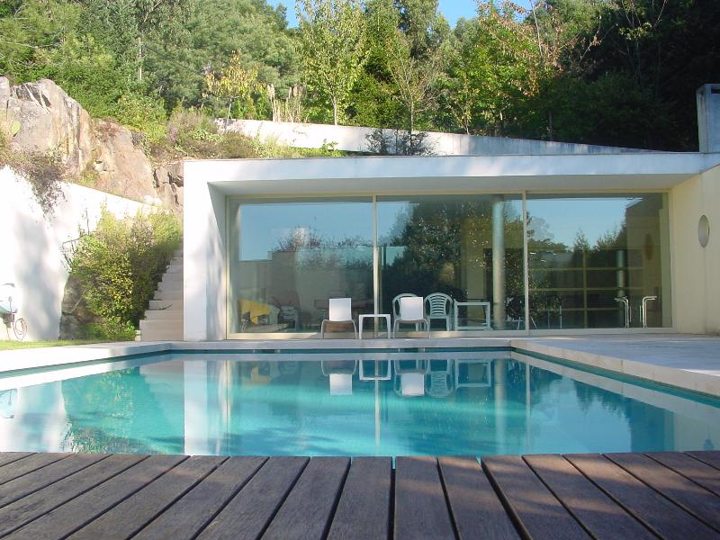 The pool house.