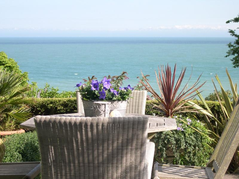 Sheltered south facing patio overlooking St Margarets Bay and the French Coast