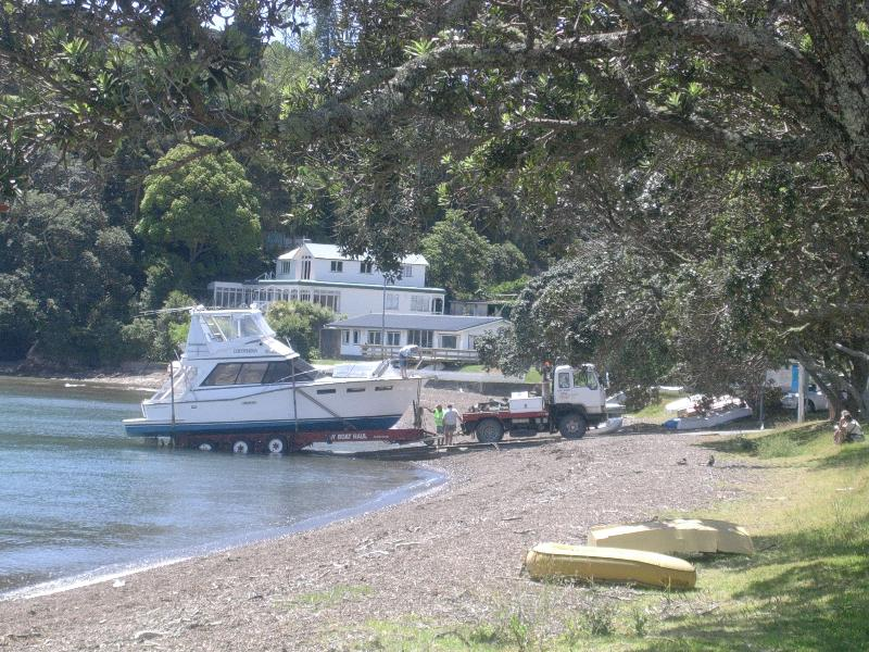 Boat launching along the road