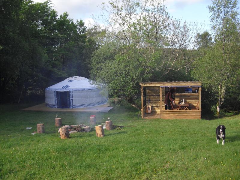 Sunshine Yurt with its own rustic kitchen, firepit and Paddy the dog!